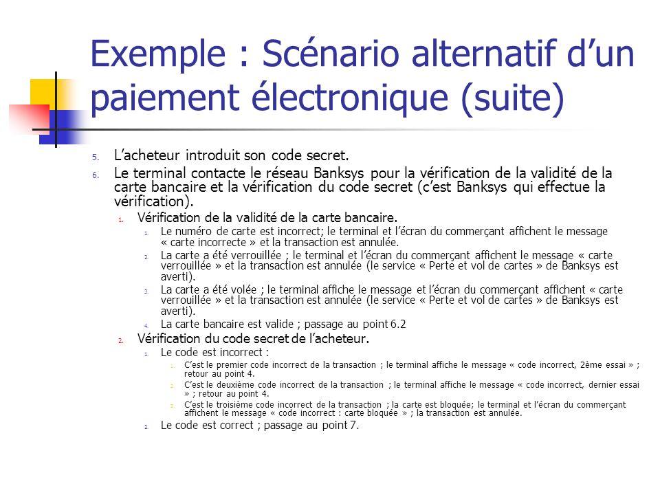 Exemple : Scénario alternatif dun paiement électronique (suite) 5. Lacheteur introduit son code secret. 6. Le terminal contacte le réseau Banksys pour