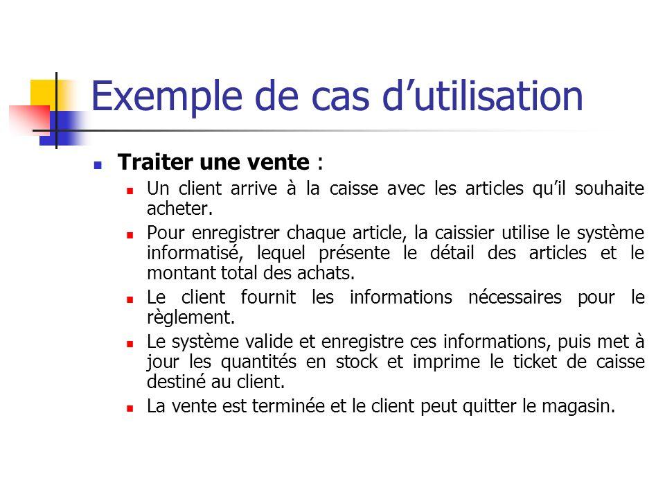 Exemple de cas dutilisation Traiter une vente : Un client arrive à la caisse avec les articles quil souhaite acheter. Pour enregistrer chaque article,