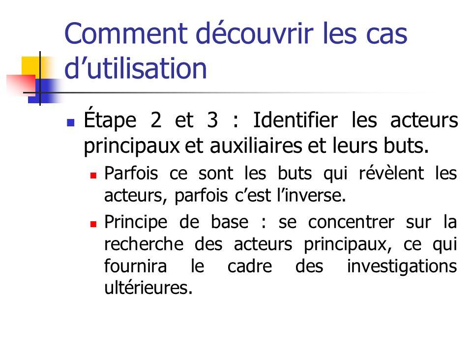 Comment découvrir les cas dutilisation Étape 2 et 3 : Identifier les acteurs principaux et auxiliaires et leurs buts.