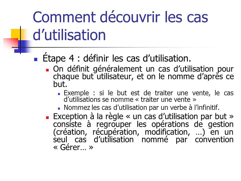 Comment découvrir les cas dutilisation Étape 4 : définir les cas dutilisation.