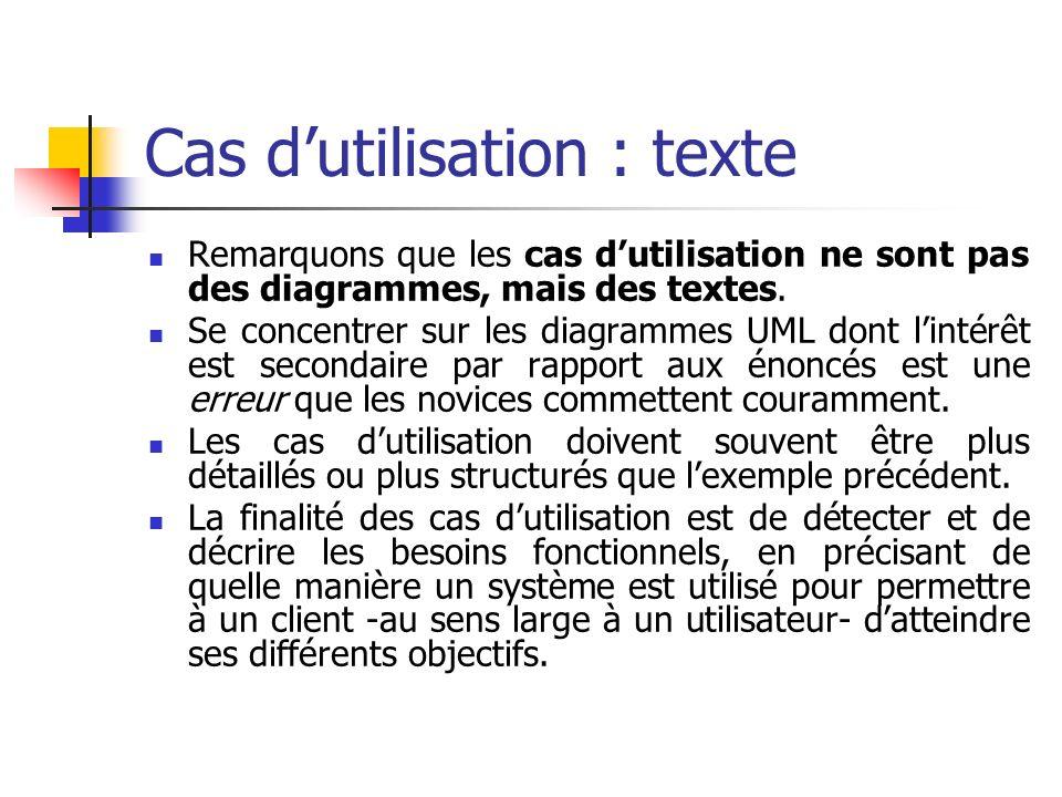 Cas dutilisation : texte Remarquons que les cas dutilisation ne sont pas des diagrammes, mais des textes. Se concentrer sur les diagrammes UML dont li