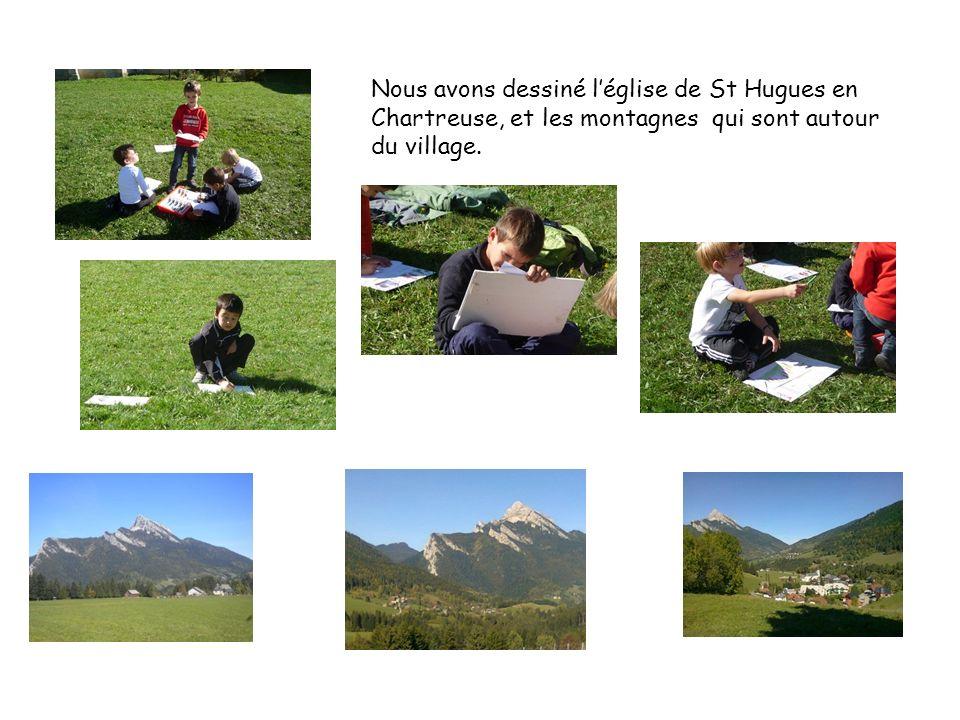 Nous avons dessiné léglise de St Hugues en Chartreuse, et les montagnes qui sont autour du village.