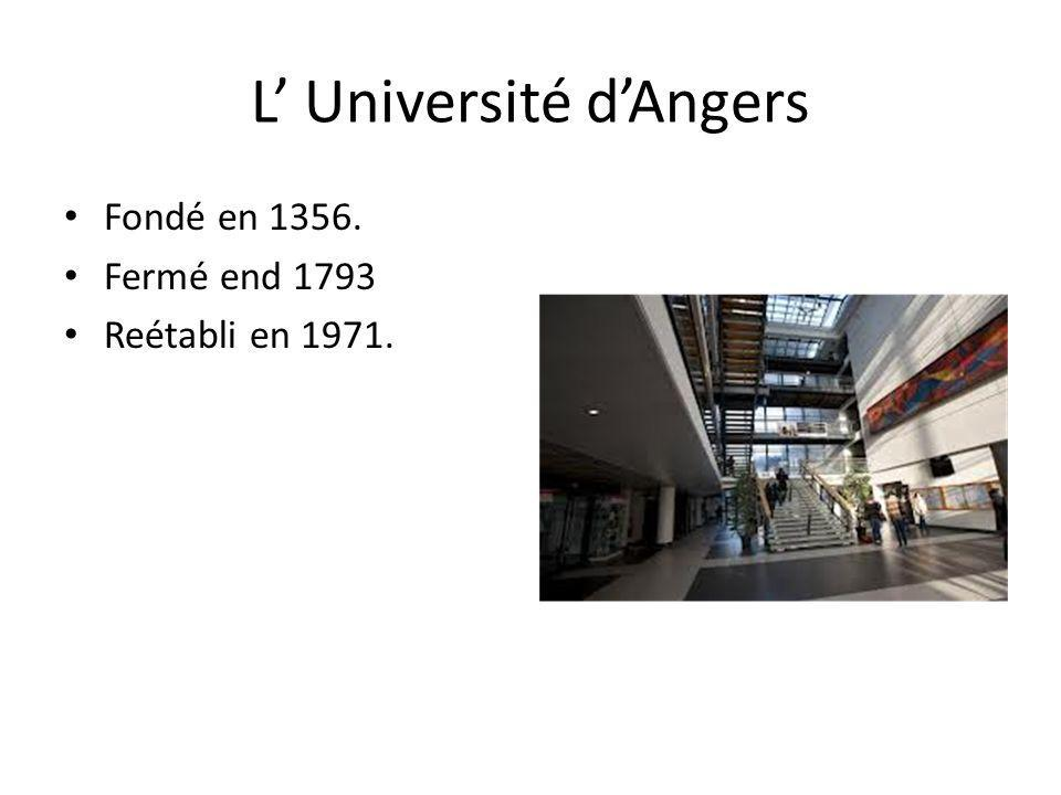 L Université dAngers Fondé en 1356. Fermé end 1793 Reétabli en 1971.