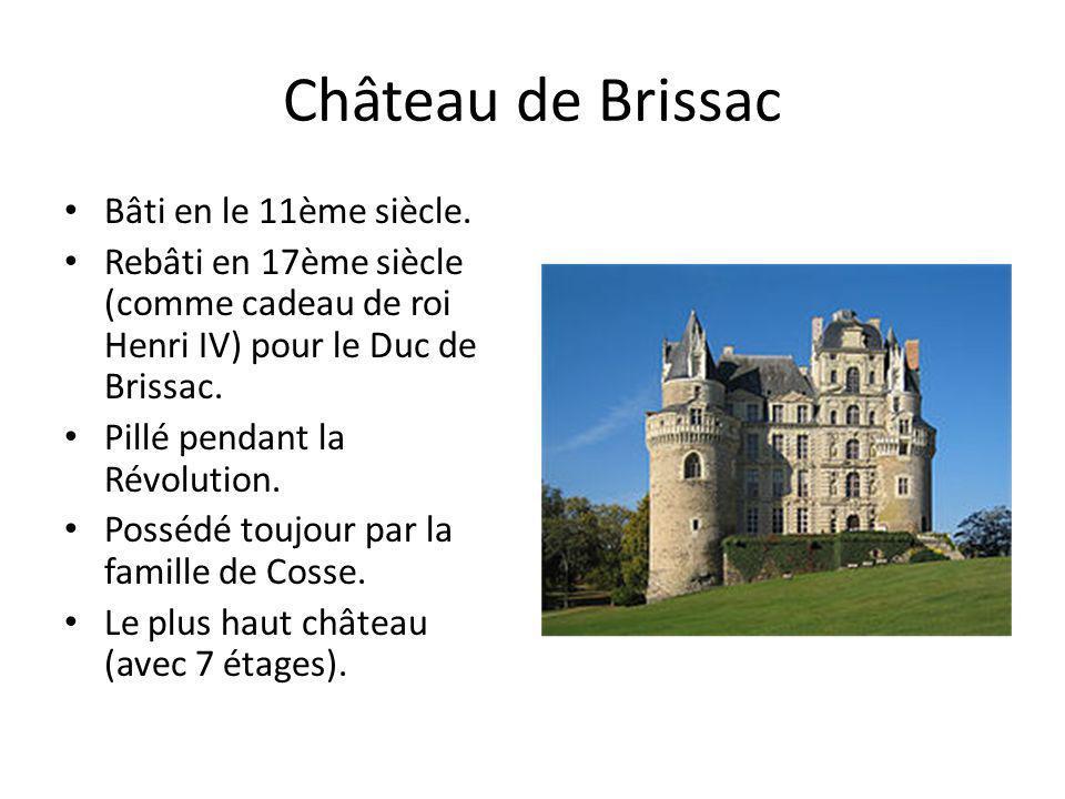 Château de Brissac Bâti en le 11ème siècle. Rebâti en 17ème siècle (comme cadeau de roi Henri IV) pour le Duc de Brissac. Pillé pendant la Révolution.