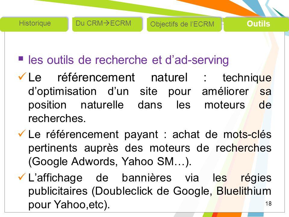 les outils de recherche et dad-serving Le référencement naturel : technique doptimisation dun site pour améliorer sa position naturelle dans les moteu