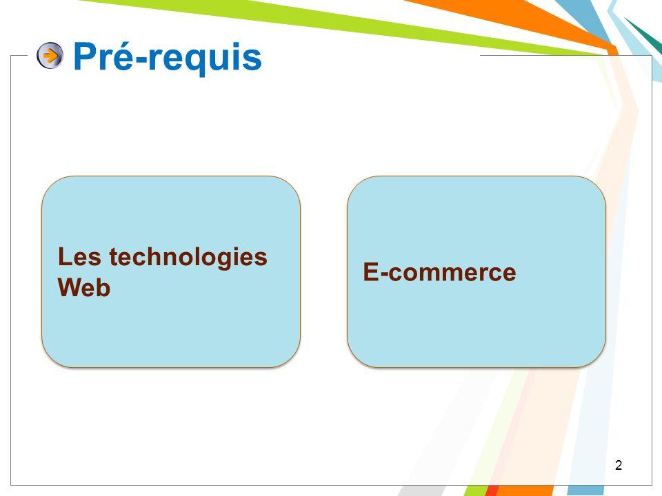 Pré-requis 2 Les technologies Web E-commerce