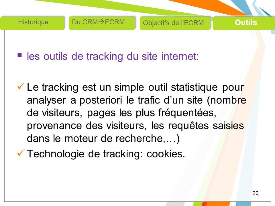 les outils de tracking du site internet: Le tracking est un simple outil statistique pour analyser a posteriori le trafic dun site (nombre de visiteur