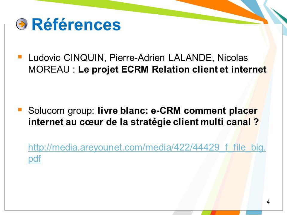 Références Ludovic CINQUIN, Pierre-Adrien LALANDE, Nicolas MOREAU : Le projet ECRM Relation client et internet Solucom group: livre blanc: e-CRM comme