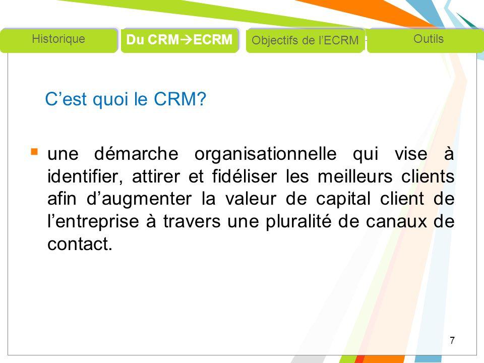 Cest quoi le CRM? une démarche organisationnelle qui vise à identifier, attirer et fidéliser les meilleurs clients afin daugmenter la valeur de capita