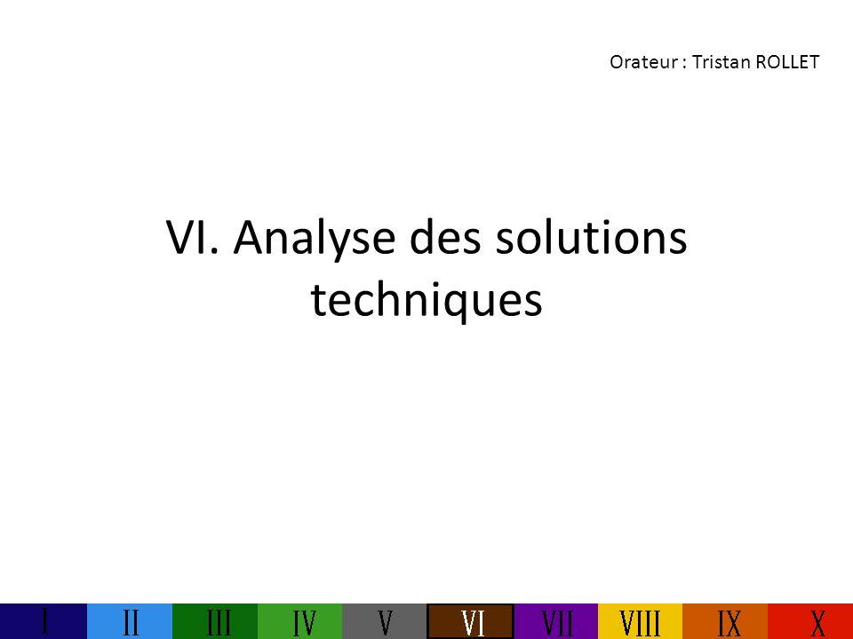 VI. Analyse des solutions techniques Orateur : Tristan ROLLET