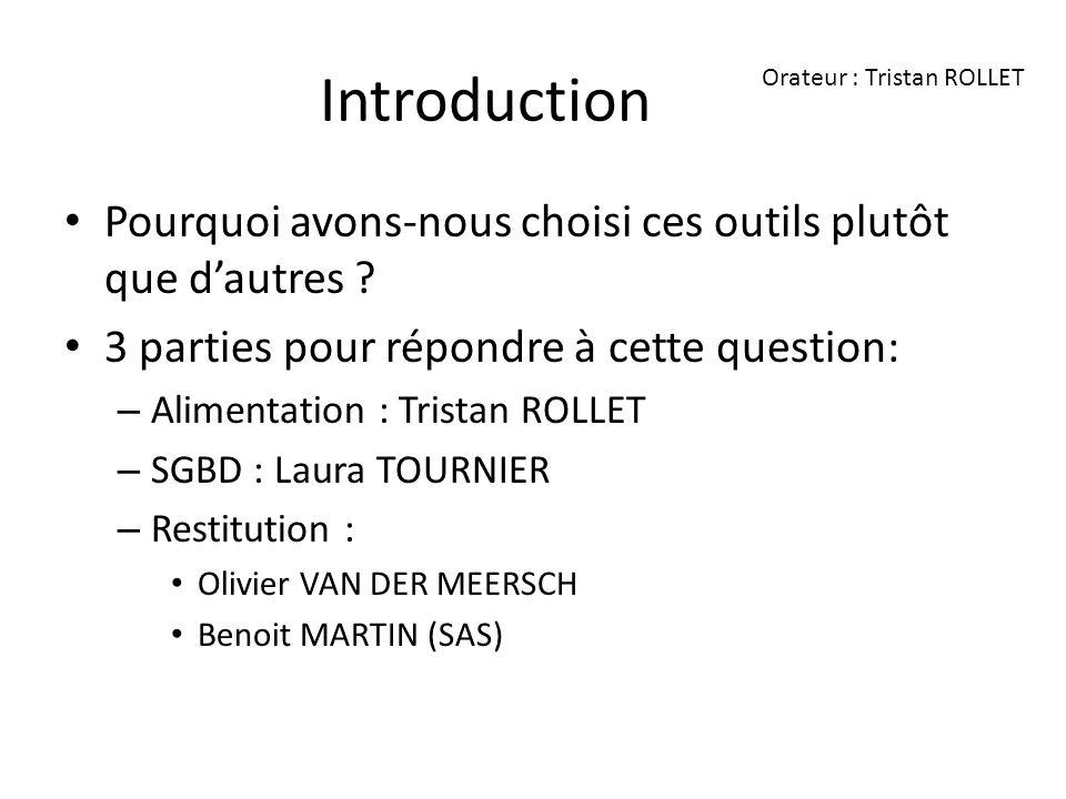 Introduction Pourquoi avons-nous choisi ces outils plutôt que dautres ? 3 parties pour répondre à cette question: – Alimentation : Tristan ROLLET – SG