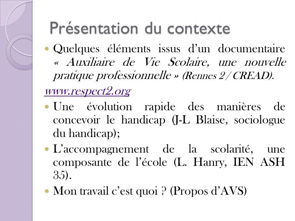 Présentation du contexte Quelques éléments issus dun documentaire « Auxiliaire de Vie Scolaire, une nouvelle pratique professionnelle » (Rennes 2 / CR