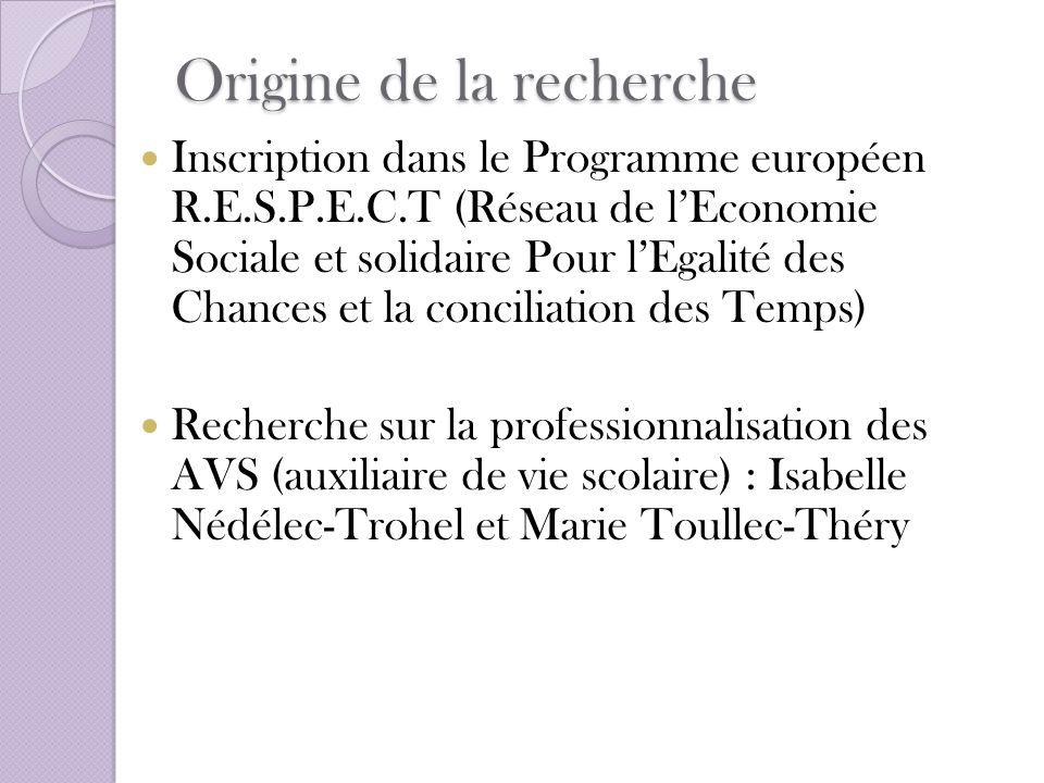 Origine de la recherche Inscription dans le Programme européen R.E.S.P.E.C.T (Réseau de lEconomie Sociale et solidaire Pour lEgalité des Chances et la