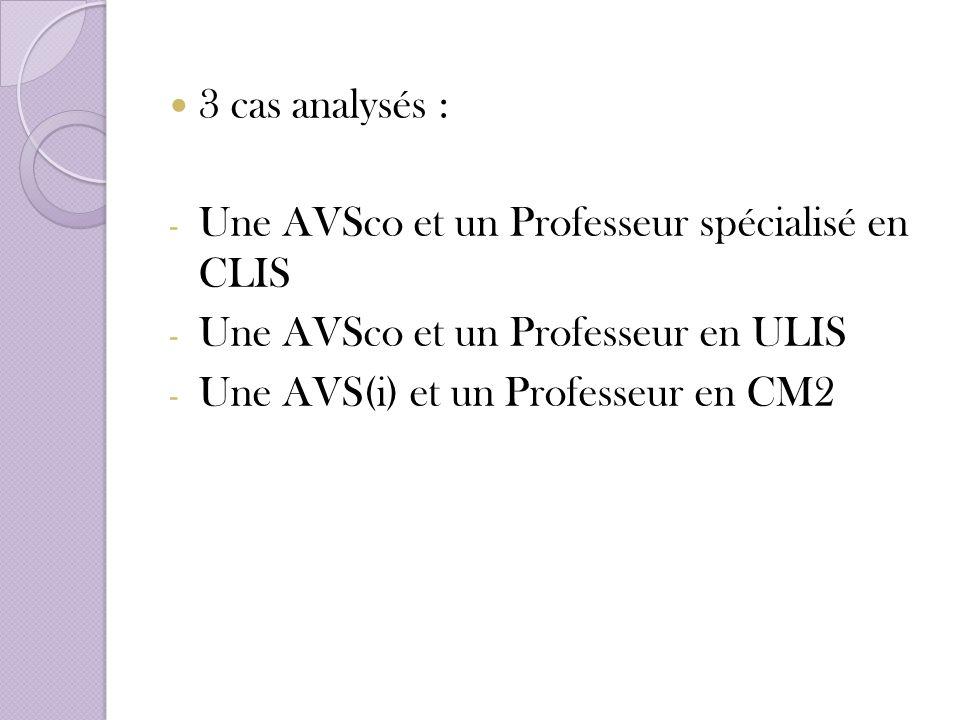 3 cas analysés : - Une AVSco et un Professeur spécialisé en CLIS - Une AVSco et un Professeur en ULIS - Une AVS(i) et un Professeur en CM2