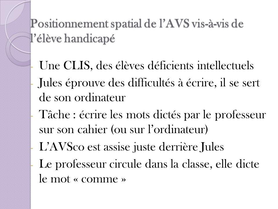 Positionnement spatial de lAVS vis-à-vis de lélève handicapé - Une CLIS, des élèves déficients intellectuels - Jules éprouve des difficultés à écrire,