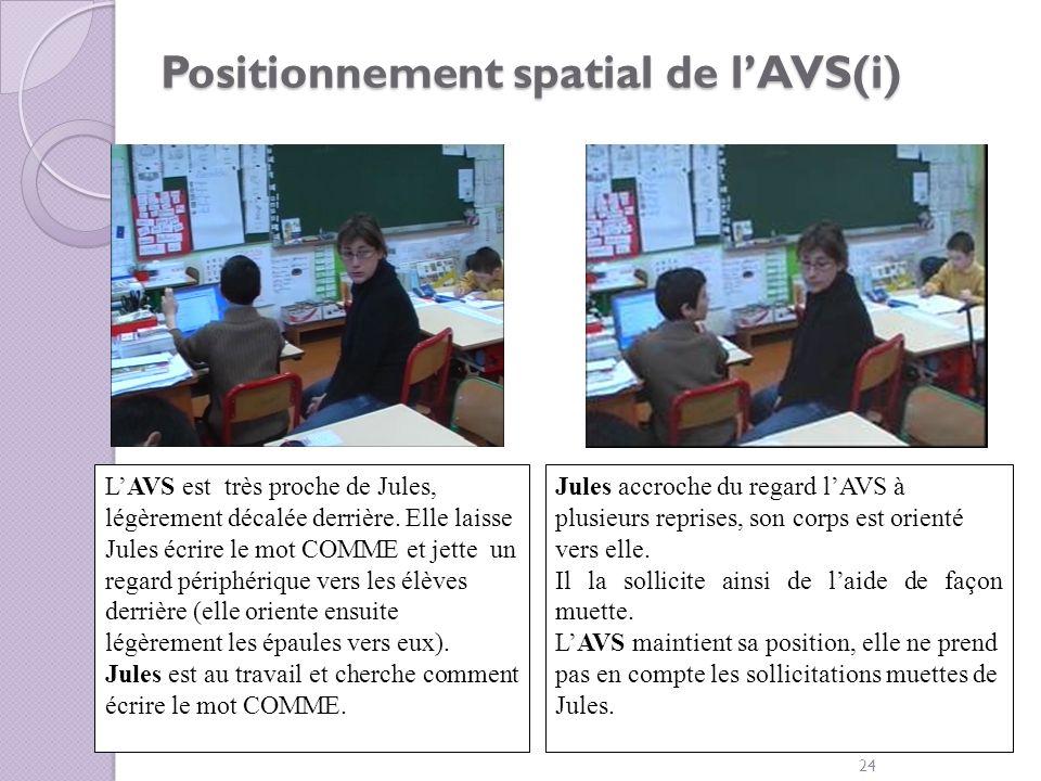 Positionnement spatial de lAVS(i) 24 LAVS est très proche de Jules, légèrement décalée derrière. Elle laisse Jules écrire le mot COMME et jette un reg