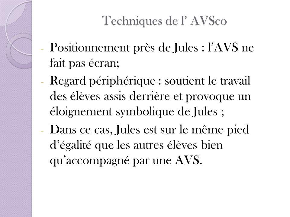 Techniques de l AVSco - Positionnement près de Jules : lAVS ne fait pas écran; - Regard périphérique : soutient le travail des élèves assis derrière e