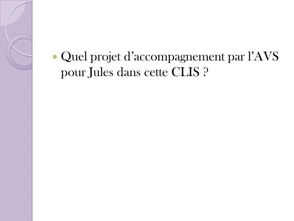 Quel projet daccompagnement par lAVS pour Jules dans cette CLIS ?