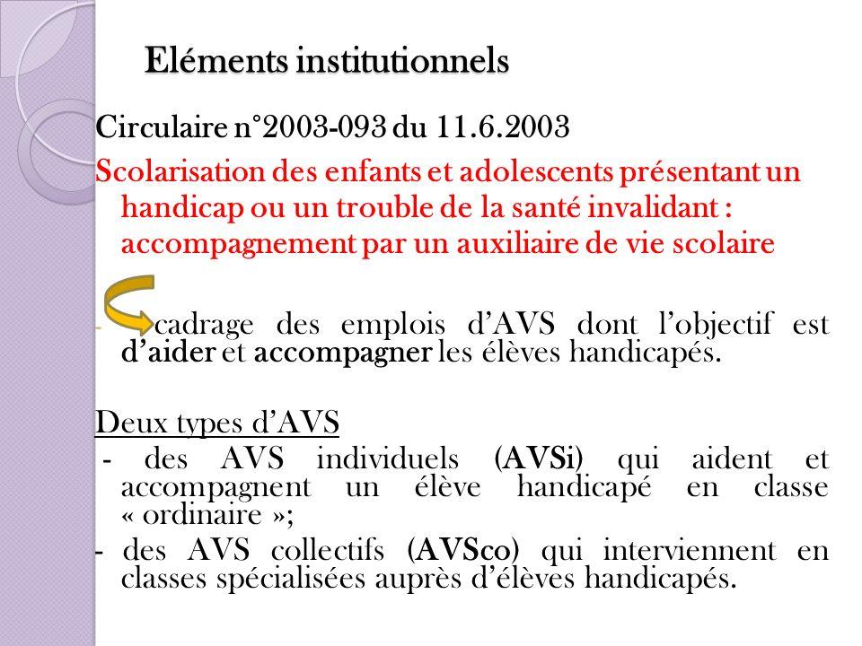 Eléments institutionnels Circulaire n°2003-093 du 11.6.2003 Scolarisation des enfants et adolescents présentant un handicap ou un trouble de la santé
