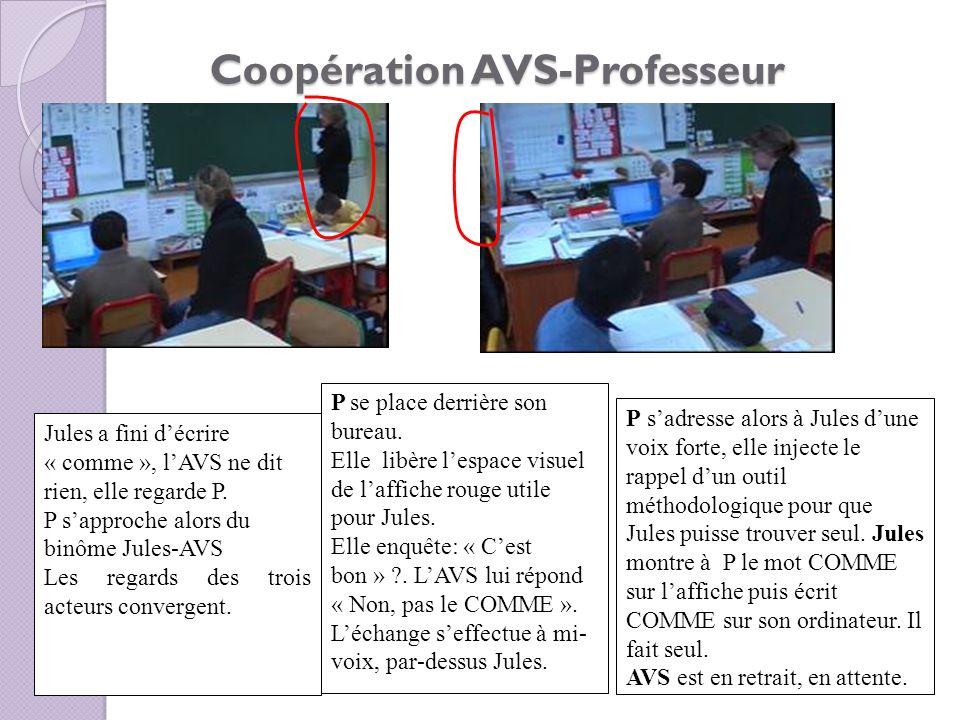 Coopération AVS-Professeur Jules a fini décrire « comme », lAVS ne dit rien, elle regarde P. P sapproche alors du binôme Jules-AVS Les regards des tro