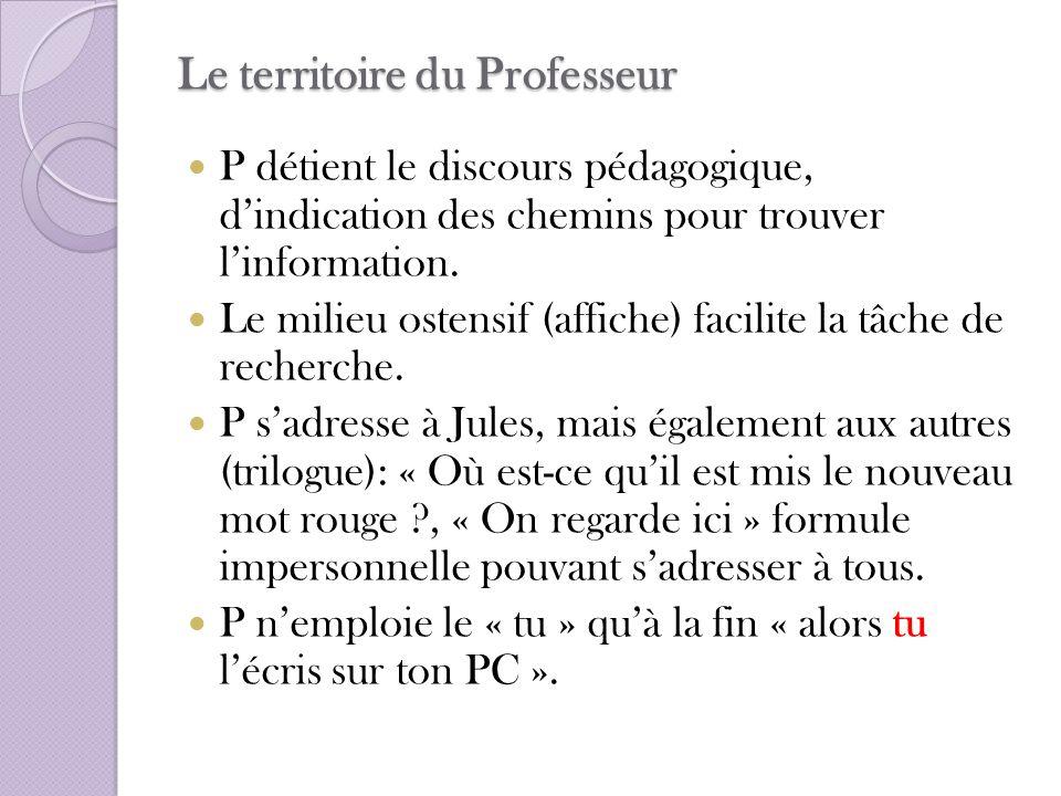 Le territoire du Professeur P détient le discours pédagogique, dindication des chemins pour trouver linformation. Le milieu ostensif (affiche) facilit