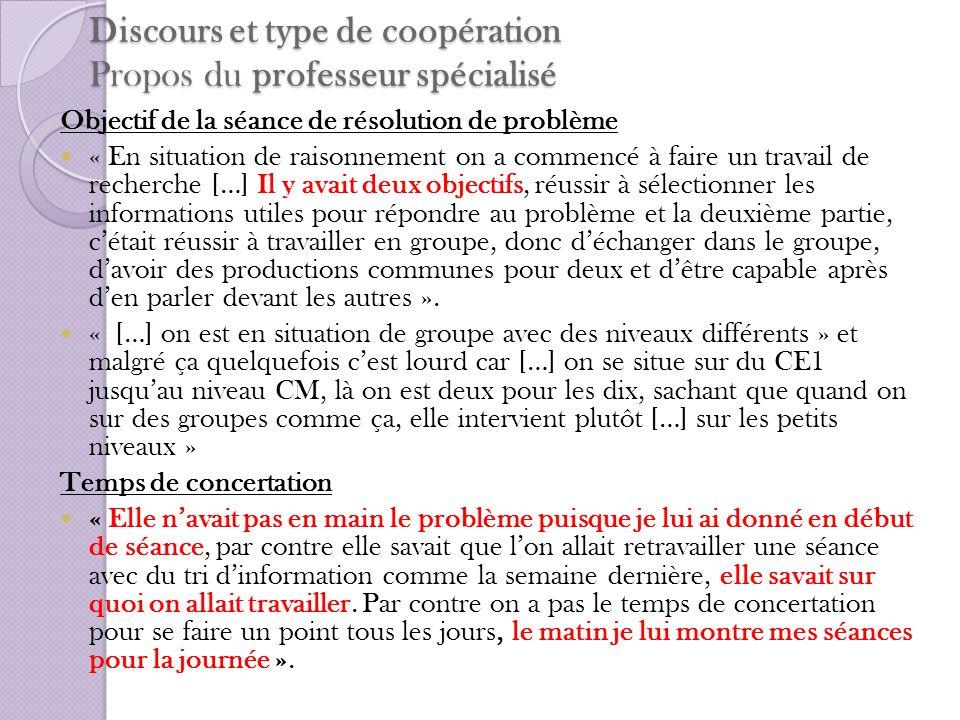 Discours et type de coopération Propos du professeur spécialisé Objectif de la séance de résolution de problème « En situation de raisonnement on a co