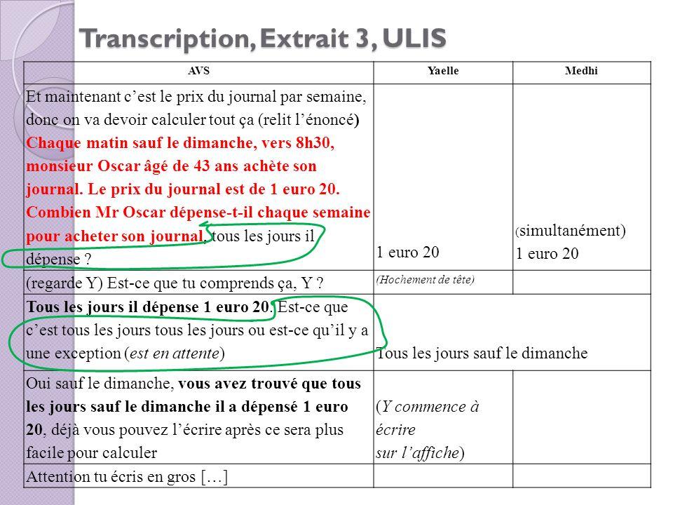 Transcription, Extrait 3, ULIS AVSYaelleMedhi Et maintenant cest le prix du journal par semaine, donc on va devoir calculer tout ça (relit lénoncé) Ch