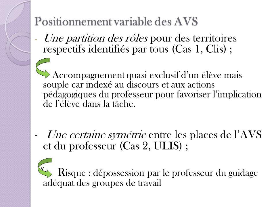 Positionnement variable des AVS - Une partition des rôles pour des territoires respectifs identifiés par tous (Cas 1, Clis) ; Accompagnement quasi exc