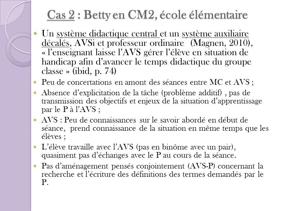 Cas 2 : Betty en CM2, école élémentaire Un système didactique central et un système auxiliaire décalés, AVSi et professeur ordinaire (Magnen, 2010), «