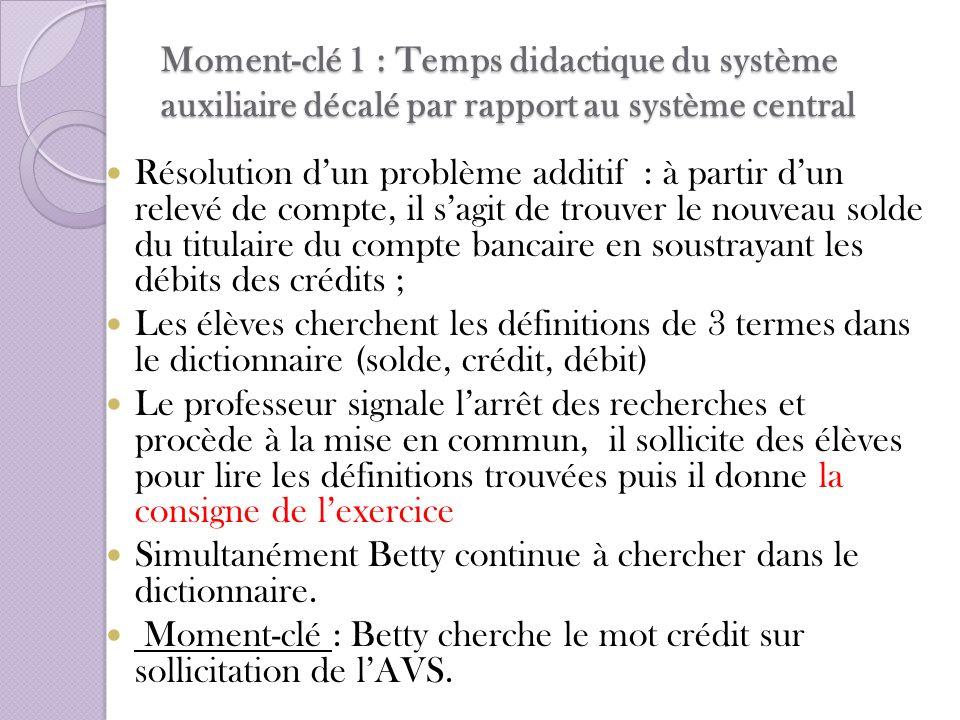Moment-clé 1 : Temps didactique du système auxiliaire décalé par rapport au système central Résolution dun problème additif : à partir dun relevé de c