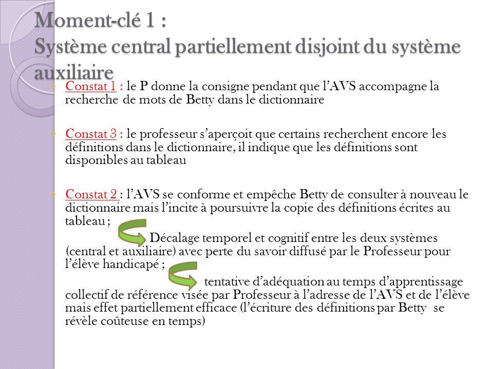 Moment-clé 1 : Système central partiellement disjoint du système auxiliaire Constat 1 : le P donne la consigne pendant que lAVS accompagne la recherch