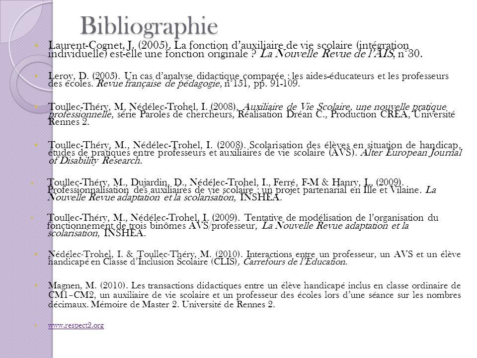 Bibliographie Laurent-Cognet, J. (2005). La fonction dauxiliaire de vie scolaire (intégration individuelle) est-elle une fonction originale ? La Nouve