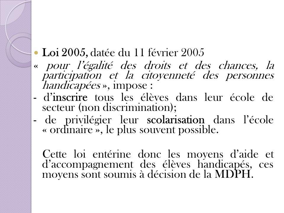 Loi 2005, datée du 11 février 2005 « pour légalité des droits et des chances, la participation et la citoyenneté des personnes handicapées », impose :