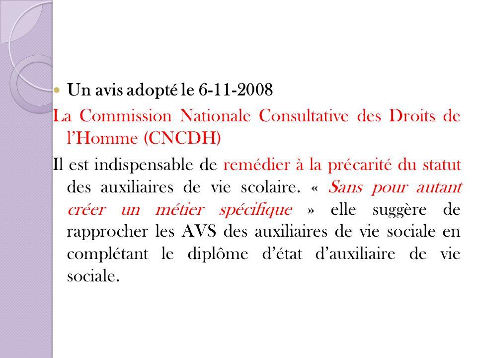 Un avis adopté le 6-11-2008 La Commission Nationale Consultative des Droits de lHomme (CNCDH) Il est indispensable de remédier à la précarité du statu