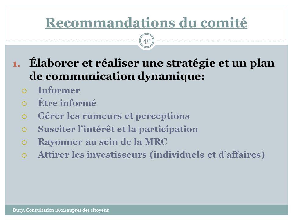 Recommandations du comité Bury, Consultation 2012 auprès des citoyens 40 1.