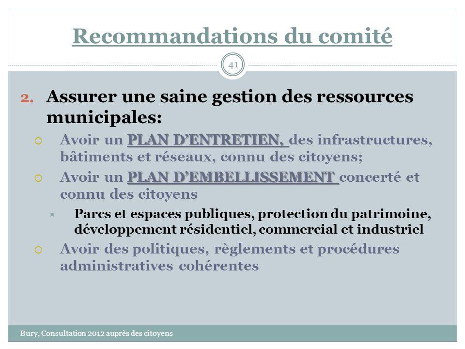 Recommandations du comité Bury, Consultation 2012 auprès des citoyens 41 2.