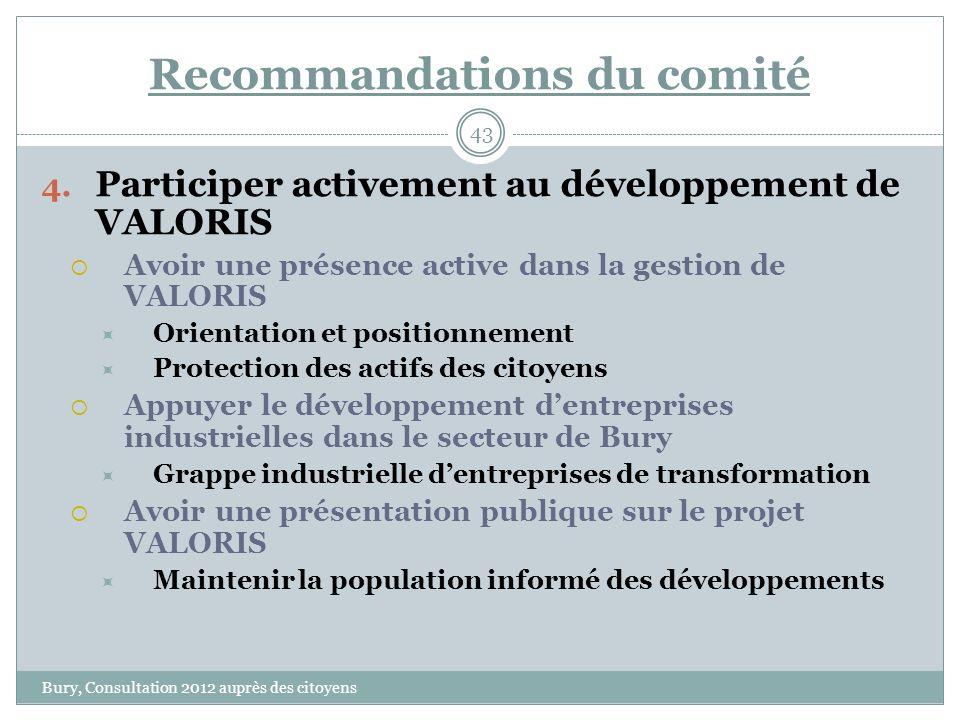 Recommandations du comité Bury, Consultation 2012 auprès des citoyens 43 4.