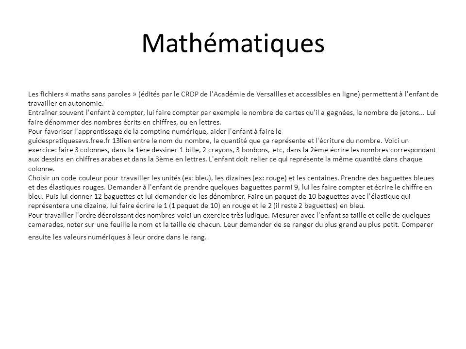 Mathématiques Les fichiers « maths sans paroles » (édités par le CRDP de l Académie de Versailles et accessibles en ligne) permettent à l enfant de travailler en autonomie.
