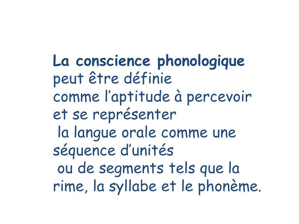 La conscience phonologique peut être définie comme laptitude à percevoir et se représenter la langue orale comme une séquence dunités ou de segments tels que la rime, la syllabe et le phonème.