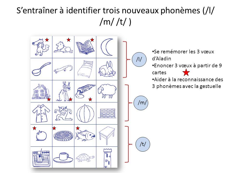 Sentraîner à identifier trois nouveaux phonèmes (/l/ /m/ /t/ ) /l/ /m/ /t/ Se remémorer les 3 vœux dAladin Enoncer 3 vœux à partir de 9 cartes Aider à la reconnaissance des 3 phonèmes avec la gestuelle