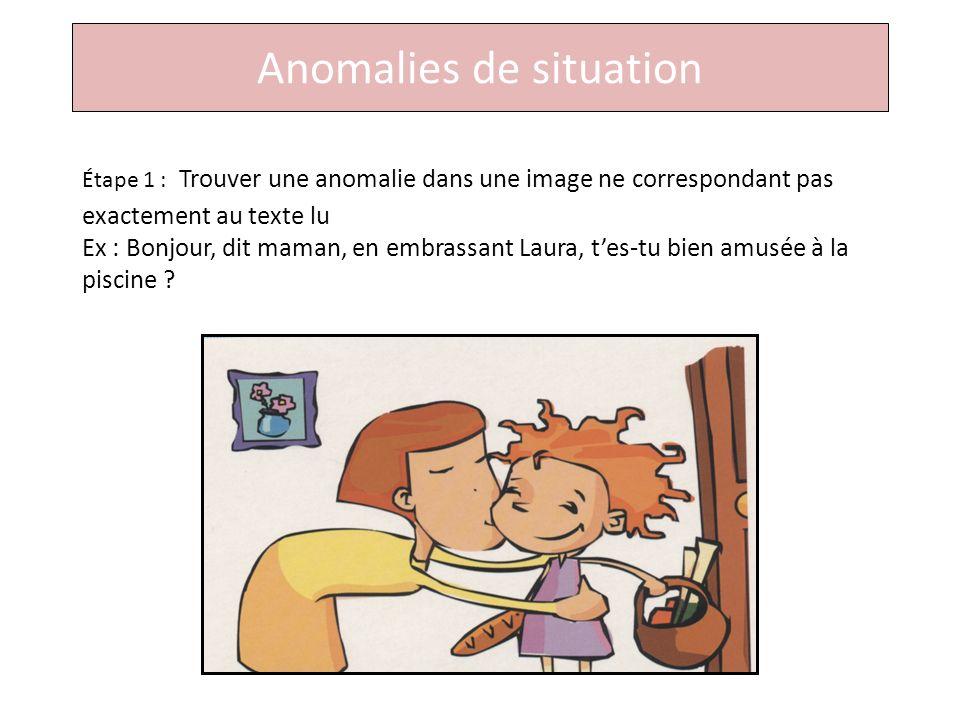 Anomalies de situation Étape 1 : Trouver une anomalie dans une image ne correspondant pas exactement au texte lu Ex : Bonjour, dit maman, en embrassant Laura, tes-tu bien amusée à la piscine ?