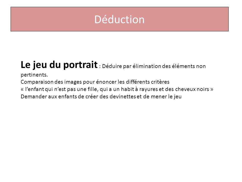 Déduction Le jeu du portrait : Déduire par élimination des éléments non pertinents.