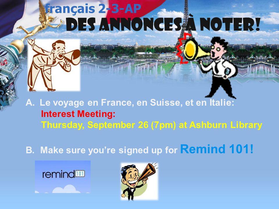 français 3 le 25-26 septembre 2013 ActivitéClasseur VIDEO !: CHANSON: Christophe Maé: > Activités/Devoirs I. Vérification des devoirs : A.Exercices de