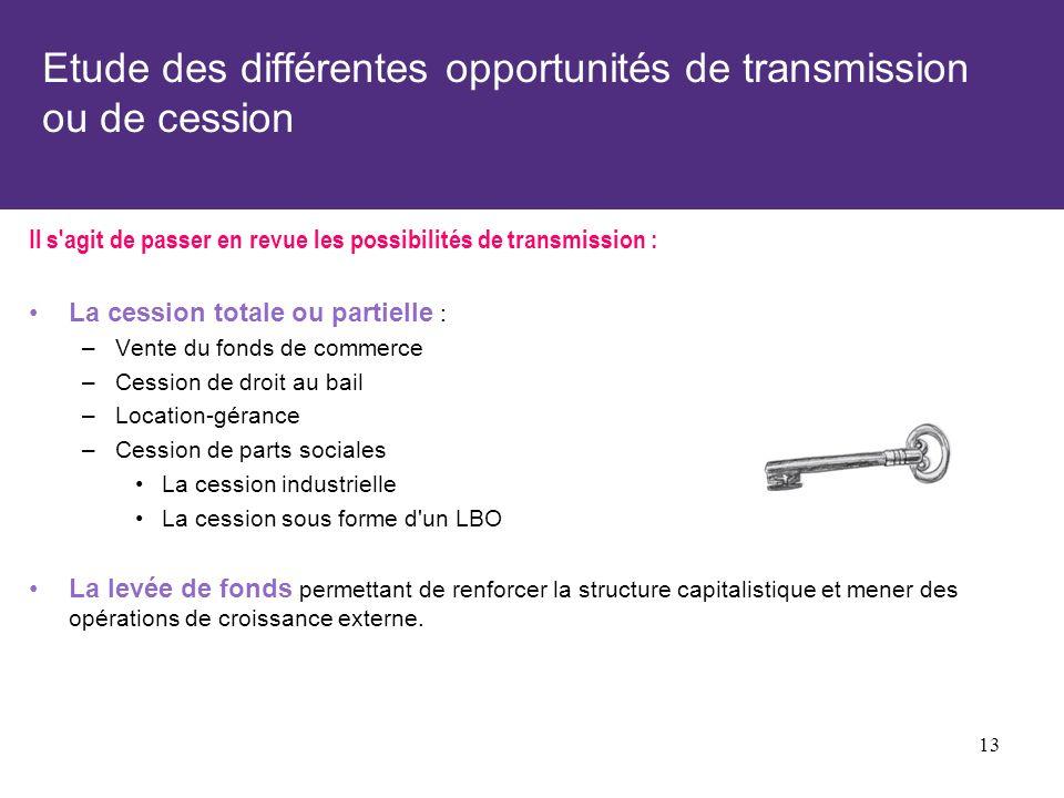 Etude des différentes opportunités de transmission ou de cession Il s'agit de passer en revue les possibilités de transmission : La cession totale ou