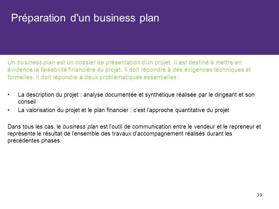 Préparation d'un business plan Un business plan est un dossier de présentation d'un projet. Il est destiné à mettre en évidence la faisabilité financi
