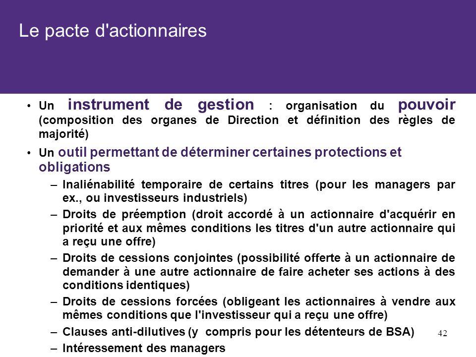 Le pacte d'actionnaires Un instrument de gestion : organisation du pouvoir (composition des organes de Direction et définition des règles de majorité)