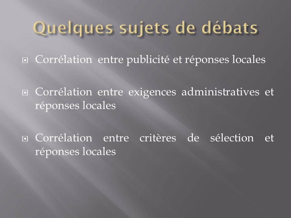 Corrélation entre publicité et réponses locales Corrélation entre exigences administratives et réponses locales Corrélation entre critères de sélection et réponses locales