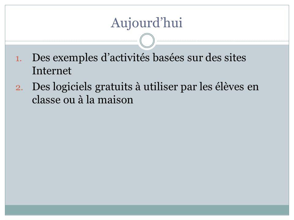 Aujourdhui 1. Des exemples dactivités basées sur des sites Internet 2. Des logiciels gratuits à utiliser par les élèves en classe ou à la maison