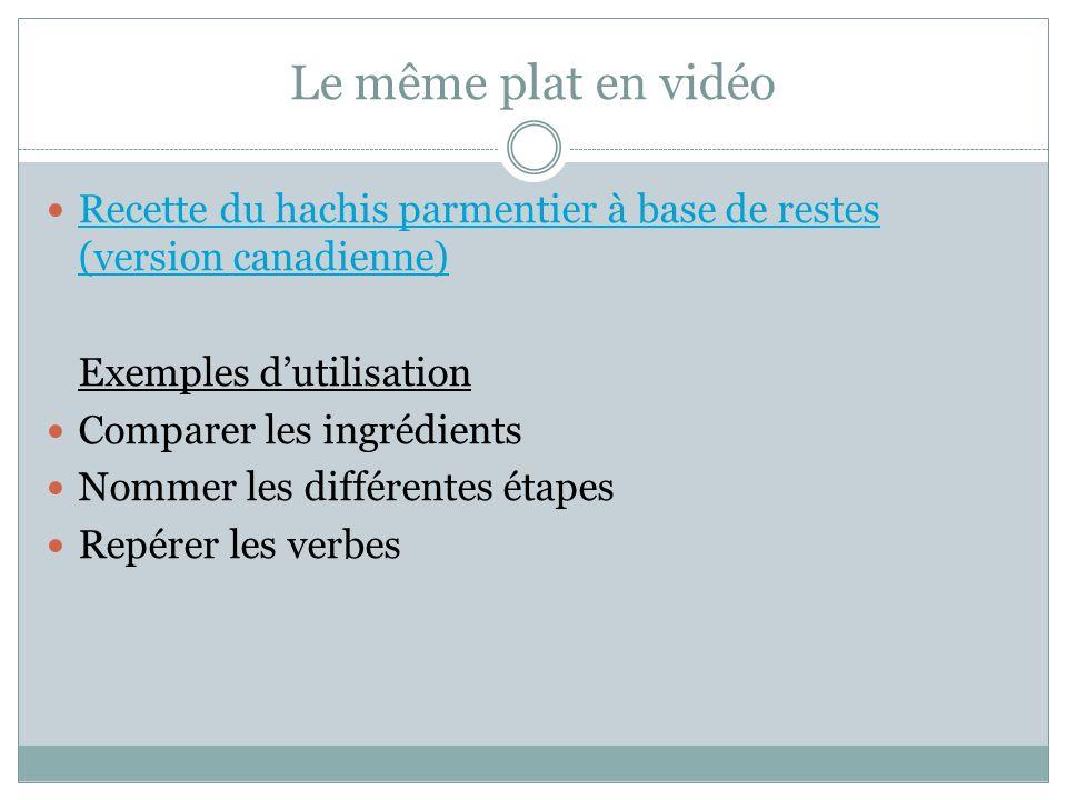 Le même plat en vidéo Recette du hachis parmentier à base de restes (version canadienne) Recette du hachis parmentier à base de restes (version canadi