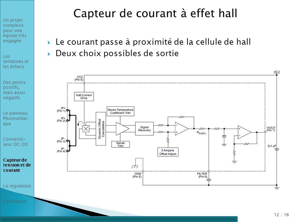Capteur de courant à effet hall Le courant passe à proximité de la cellule de hall Deux choix possibles de sortie 12 / 16 Un projet complexe pour une